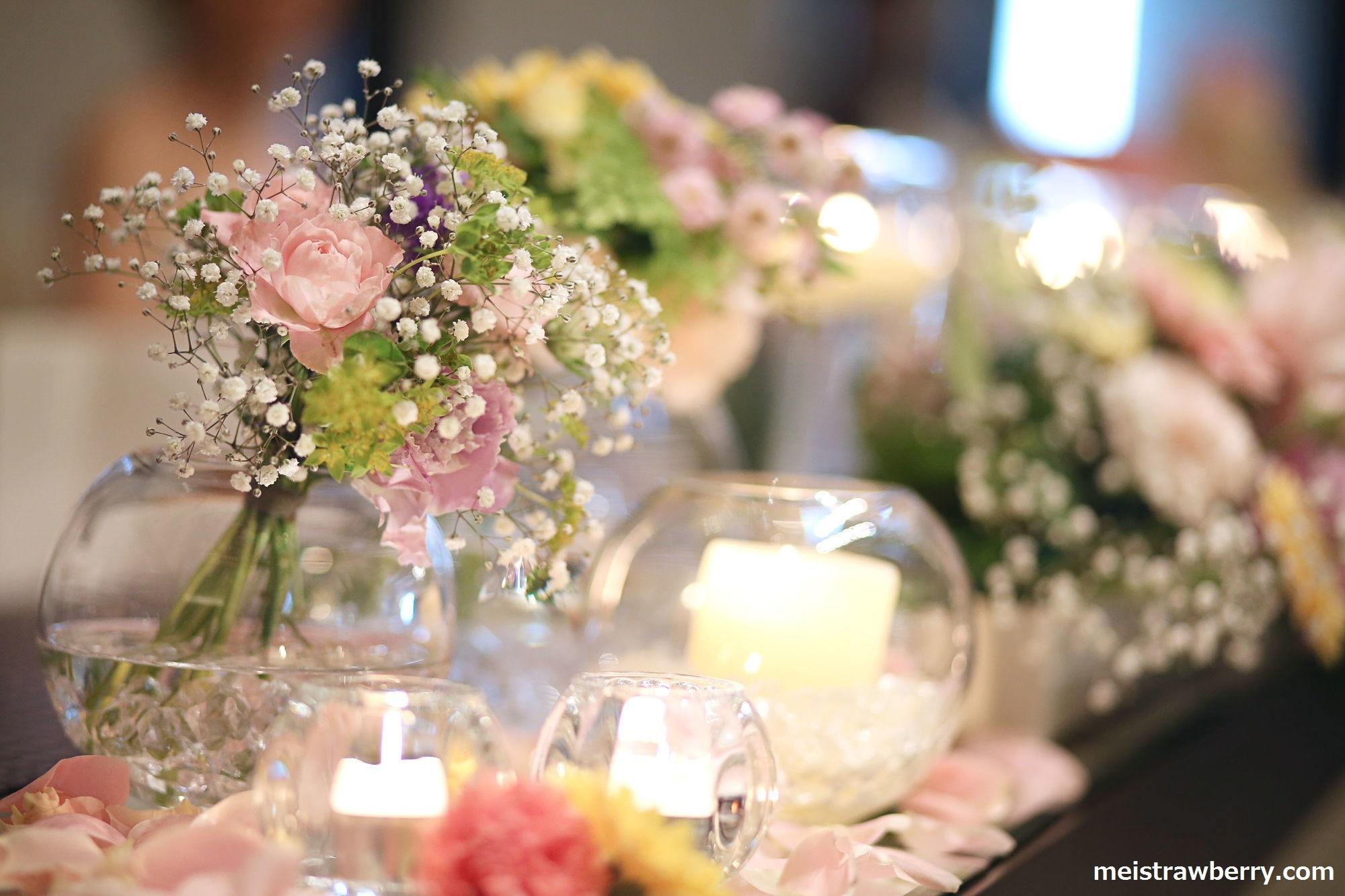 結婚式・ラプンツェルテーブル装花